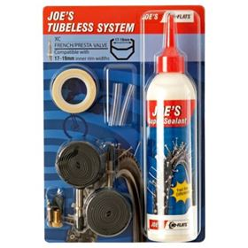 KIT TUBELESS JOES VALVULA FINA 17-19MM AZUL